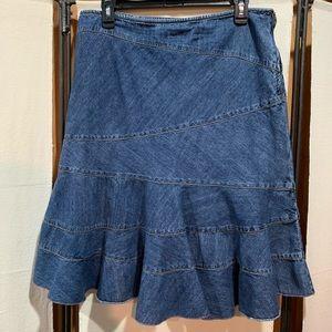 DKNY patchwork denim skirt 10